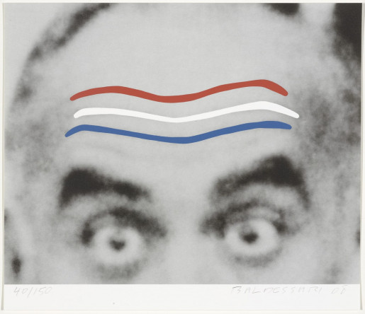 John Baldessari, Raised Eyebrows/Furrowed Foreheads (Red, White, and Blue) from Artists for Obama, 2008