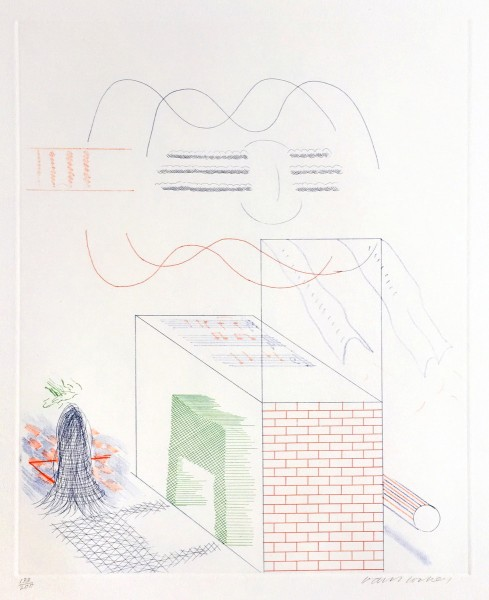 "David Hockney, The Buzzing of The Blue Guitar (from ""The Blue Guitar"" portfolio), 1976-77"