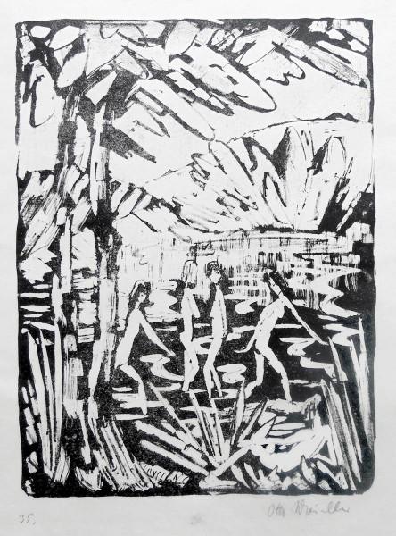 Otto Mueller, Five Girls at the Forest Pond | Fünf Mädchen am Waldteich, 1919