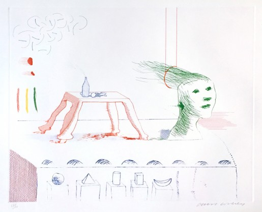 "David Hockney, A Moving Still Life (from ""The Blue Guitar"" portfolio), 1976-77"