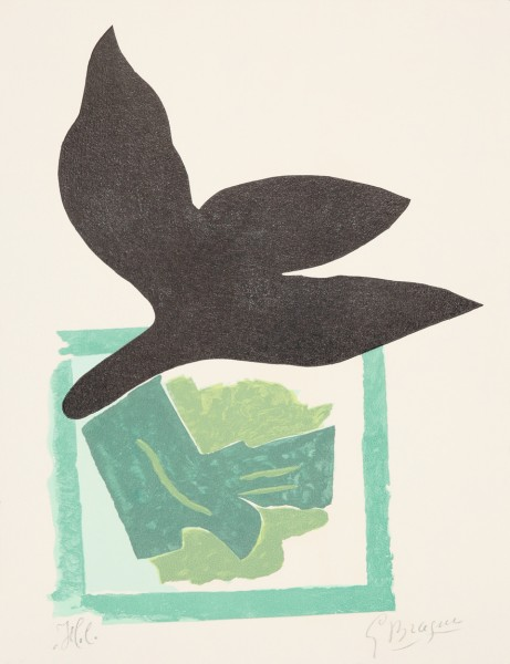 Georges Braque, Oiseau noir sur fond vert, 1962