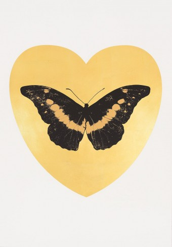 I Love You - Gold Leaf/Black/Cool Gold by Damien Hirst