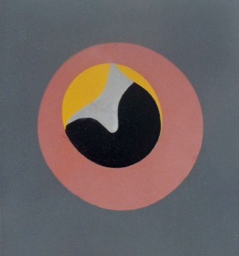 "Untitled, from ""Le Soleil Recerclé"" (Pink Eye in Grey Square) by Hans Arp"