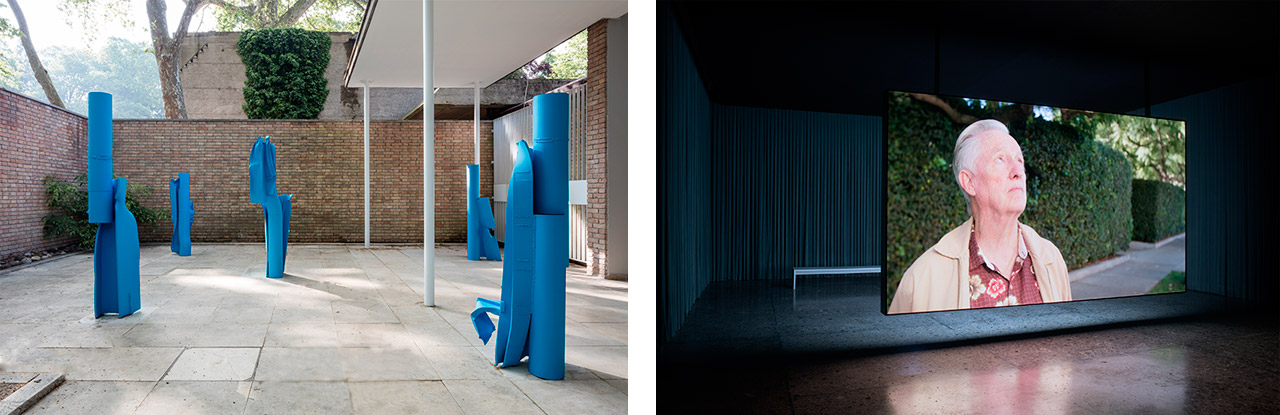 On the left installation view of Carol Bove's sculptures included in Women of Venice at the Swiss Pavilion, 57th Venice Biennale, 2017 on the right Teresa Hubbard / Alexander Birchler Flora 2017 synchronized double-sided film installation with sound 30 mins, loop installation view: Swiss Pavilion, Venice Biennale 2017