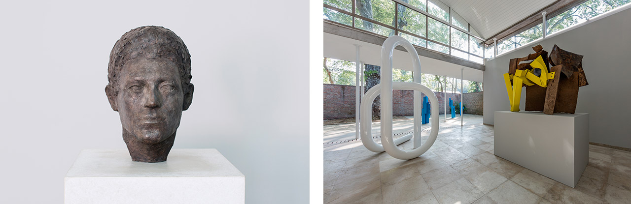On the left Teresa Hubbard / Alexander Birchler Bust 2017 Silver gelatin print and brass sculpture with concrete base image: 88 x 72cm, sculpture: 154 x 47.9 x 53.3 cm installation view: Swiss Pavilion, Venice Biennale 2017 on the right installation view of Carol Bove's sculptures included in Women of Venice at the Swiss Pavilion, 57th Venice Biennale, 2017