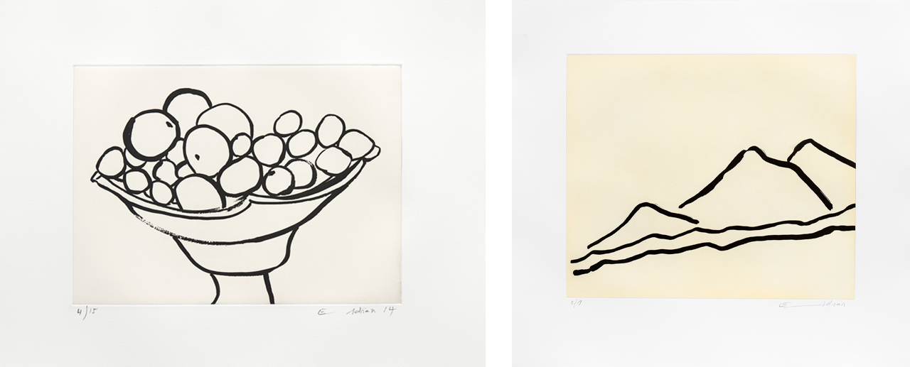 Left: Etel Adnan, Compotier III, 2014, Etching. Right: Etel Adnan, Quelque part…, 2016, Etching