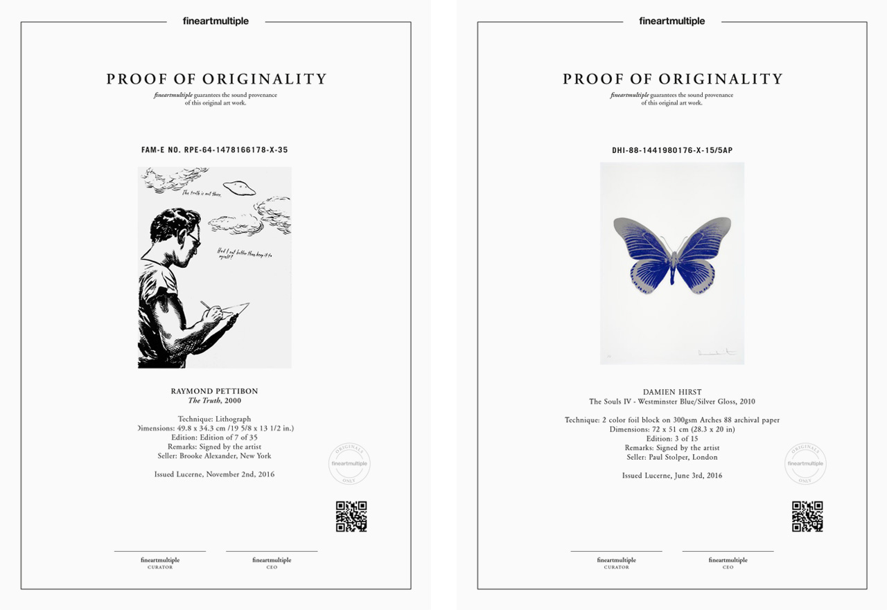 Examples of fineartmultiple's Proof of Originality document