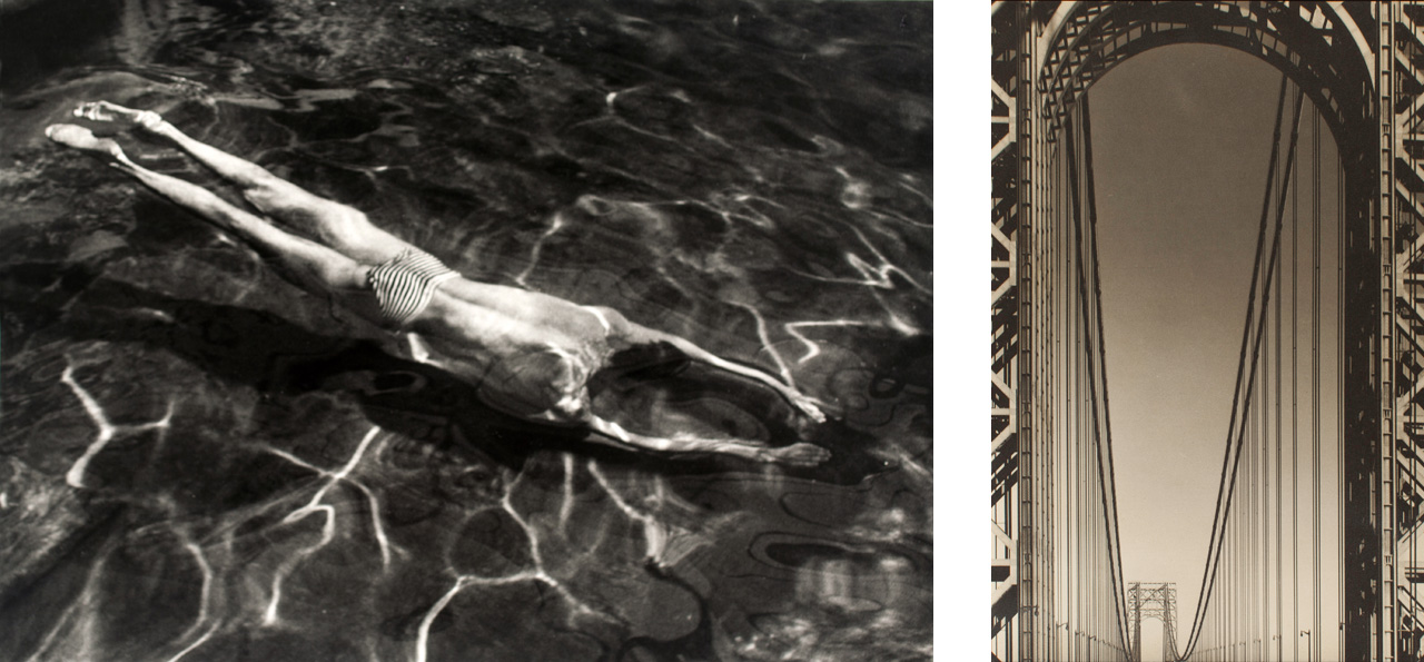 Left: On the left André Kertész, Underwater Swimmer, 1917 and on the right Margaret Bourke-White, George Washington Bridge, 1933
