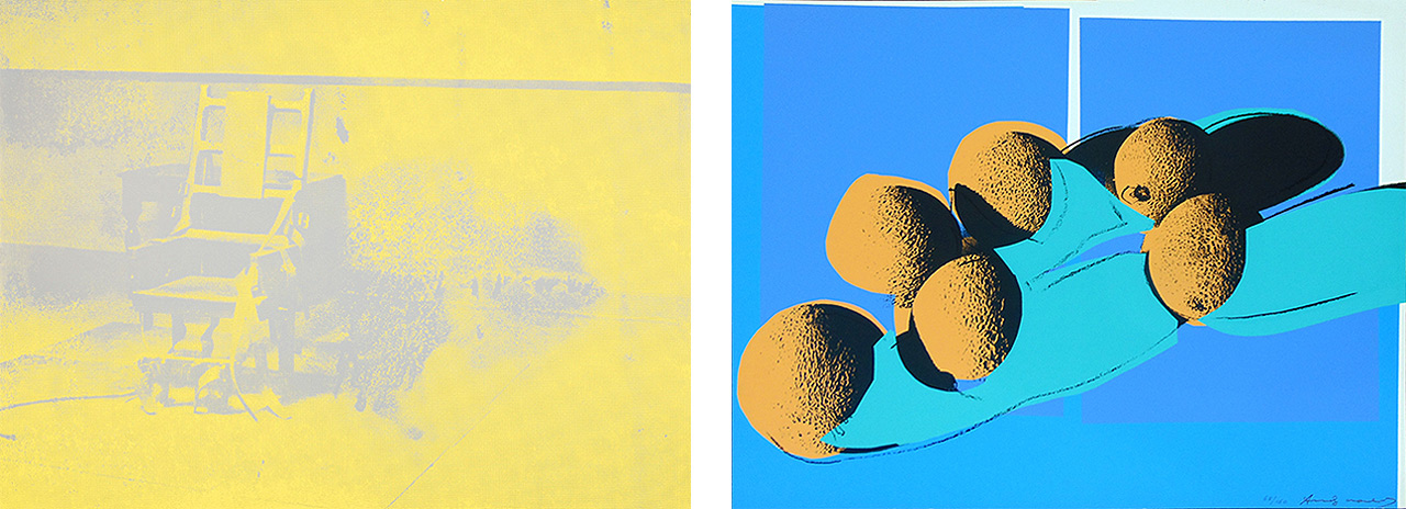 On the left Andy Warhol, Electric Chair, 1971, Color screenprint, Edition of 300 and on the right Andy Warhol, Space Fruits (Cantaloupes I), 1979 Screenprint, Edition of 150