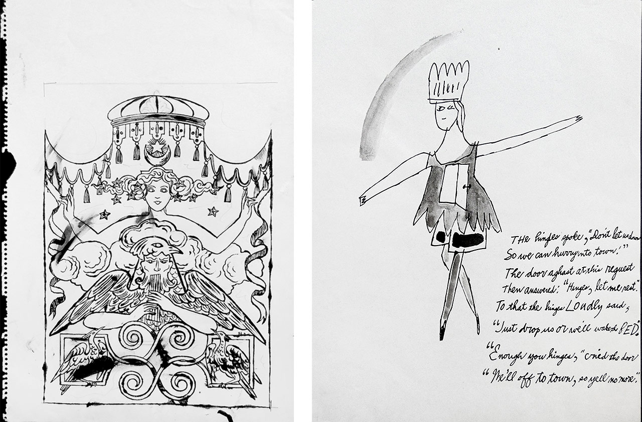 On the left Andy Warhol, Fantasy Drawing, 1956, Ink drawing with watercolor and on the right Andy Warhol, Off to Town, 1956, Ink drawing with watercolor on paper, Unique piece