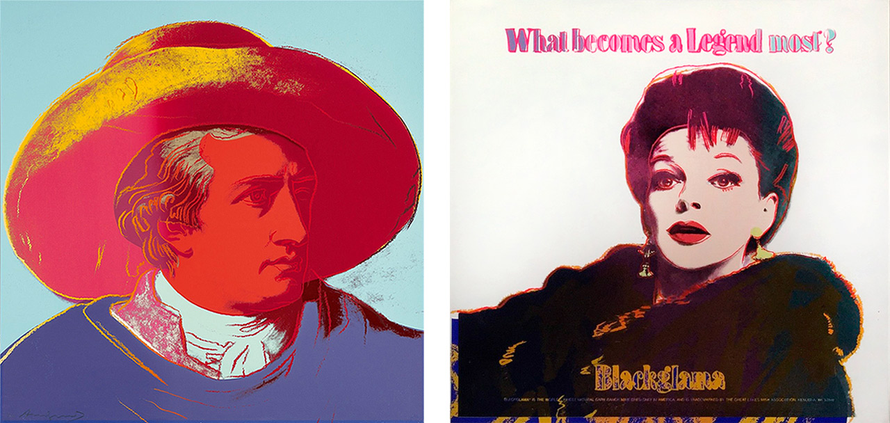 On the left Andy Warhol, Goethe (F. & S. II.270), 1982 Screenprint, Edition of 100 + 22 AP and on the right Andy Warhol Blackglama TP White, 1985 Screenprint, Edition of 190