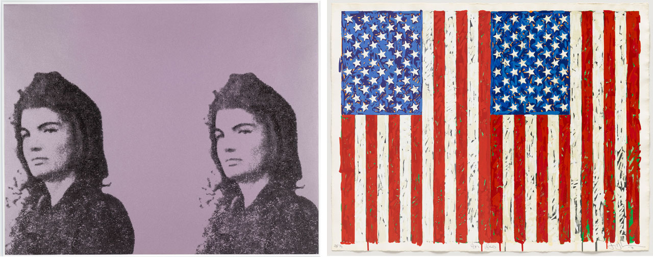 On the left Andy Warhol, Jackie II (Jacqueline Kennedy II), 1965, screenprint and on the right Jasper Johns, Flags I, 1973, screenprint