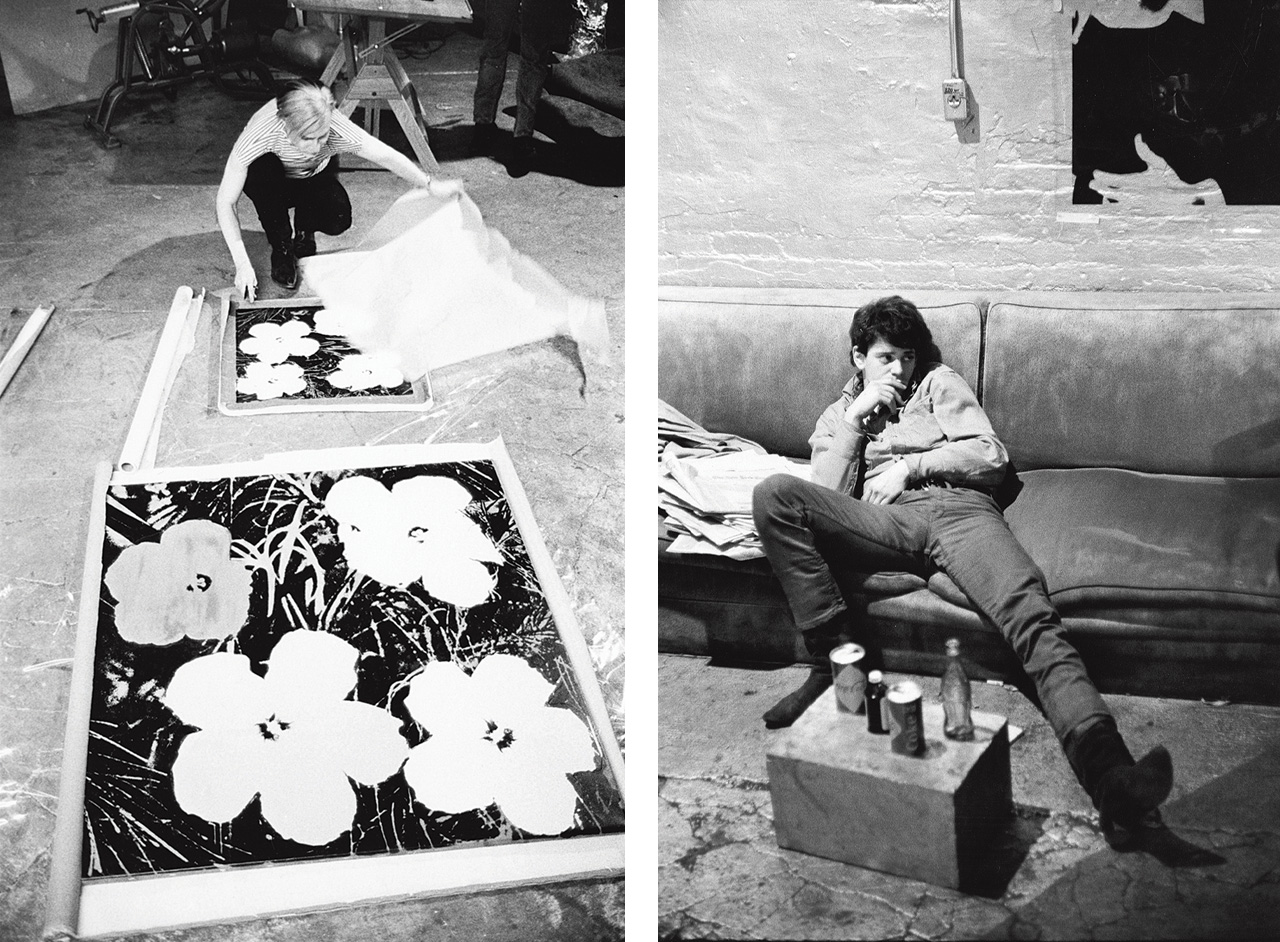 On the left Stephen Shore, Andy Warhol silk-screening Flowers, 1965-7 and on the right Stephen Shore, Lou Reed, 1965-7
