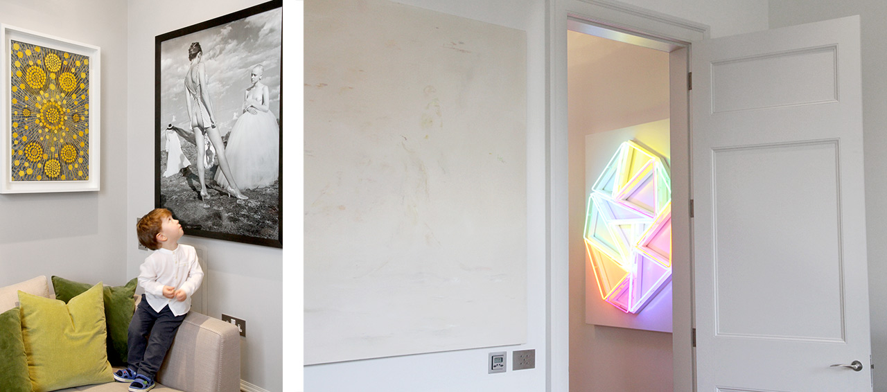 On the left a painting by Alberto di Fabio and a photograph by Oleg Kulik and on the right a painting by Maaike Schoorel on the left and neon piece by David Batchelor