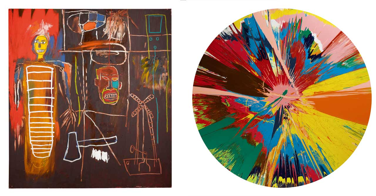 Jean-Michel Basquiat, Air Power,1984, Acrylic and oilstick. Right: Damien Hirst, Beautiful, Shattering, Slashing, Violent, Pinky, Hacking, Sphincter Painting,1995, household gloss on canvas