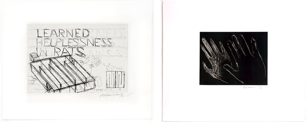 On the left Bruce Nauman, Learned Helplessness in Rats, 1988 and on the right Bruce Nauman, Untitled (Hands), 1990