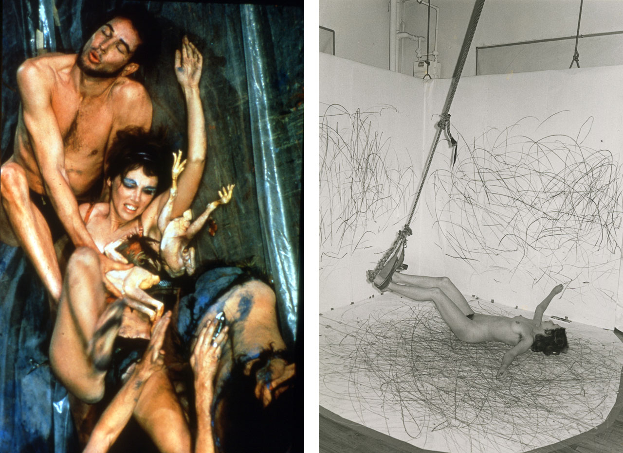 On the left Carolee Schneemann, Meat Joy, 1964 and on the right Carolee Schneemann, Up to and Including Her Limits, 1973-1977