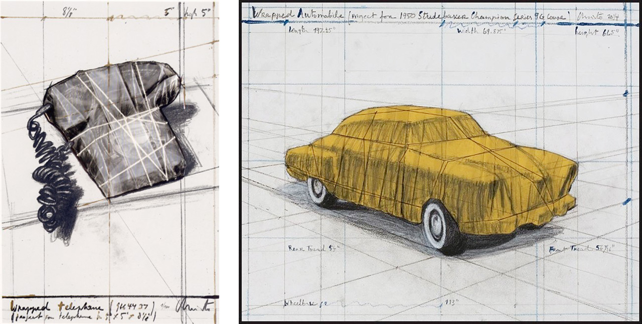 "On the left Christo, Telephone ""12th Anniversary GJP"", 1988 and on the right Christo, Wrapped Automobile (Project for 1950 Studebaker Champion, Series 9 G Coupe), 2015"