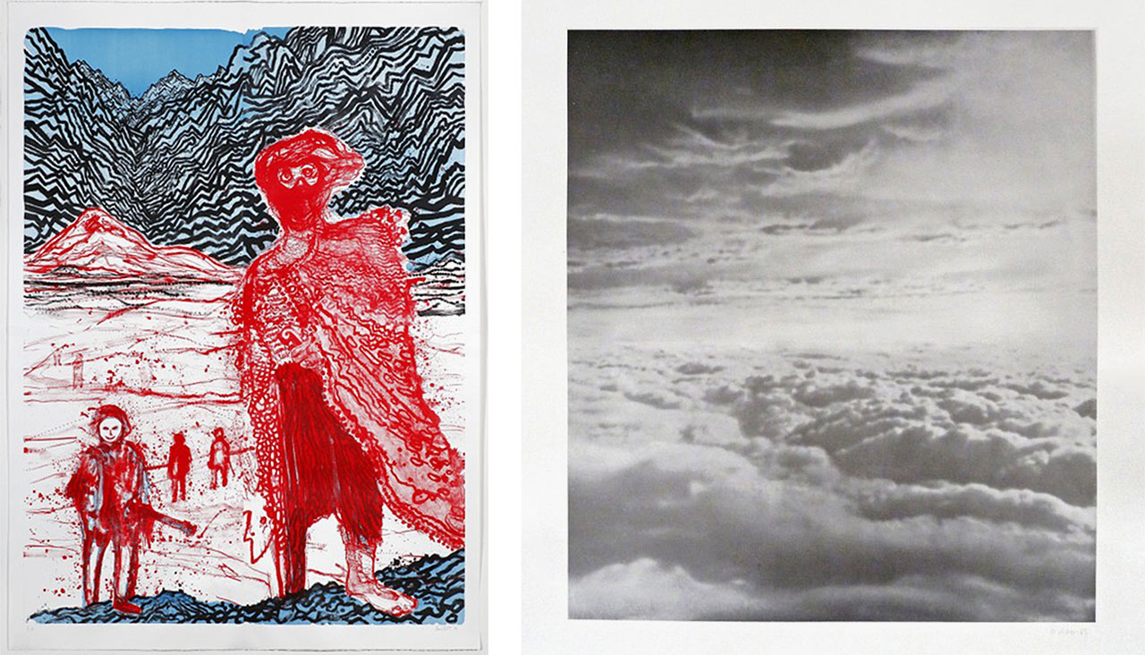 On the left Daniel Richter, Begegnung im Hinterland (Encounter in the Hinterland), 2011 and on the right Gerhard Richter, Clouds/Wolken, 1969