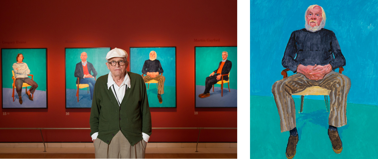 David Hockney, Right: David Hockney, John Baldessari, 2013, Oil on canvas