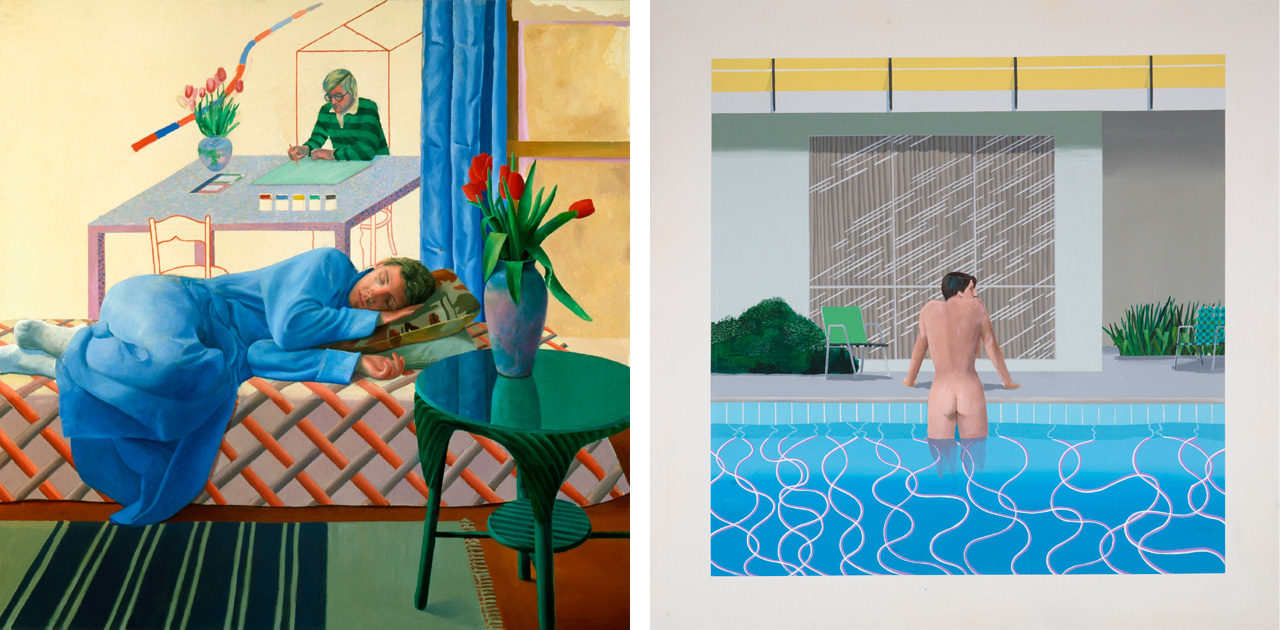 On the left: David Hockney, Model with Unfinished Self Portrait, 1977 and on the right Peter Getting Out of Nick's Pool, 1966