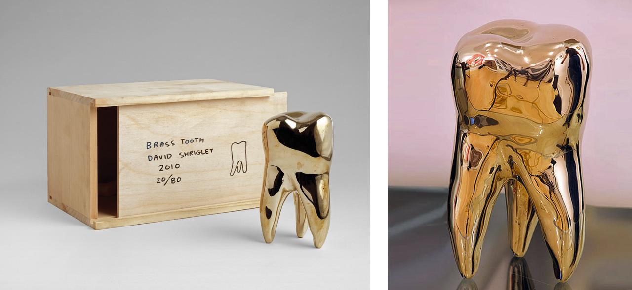 David Shrigley's Brass Tooth, 2010, sculpture