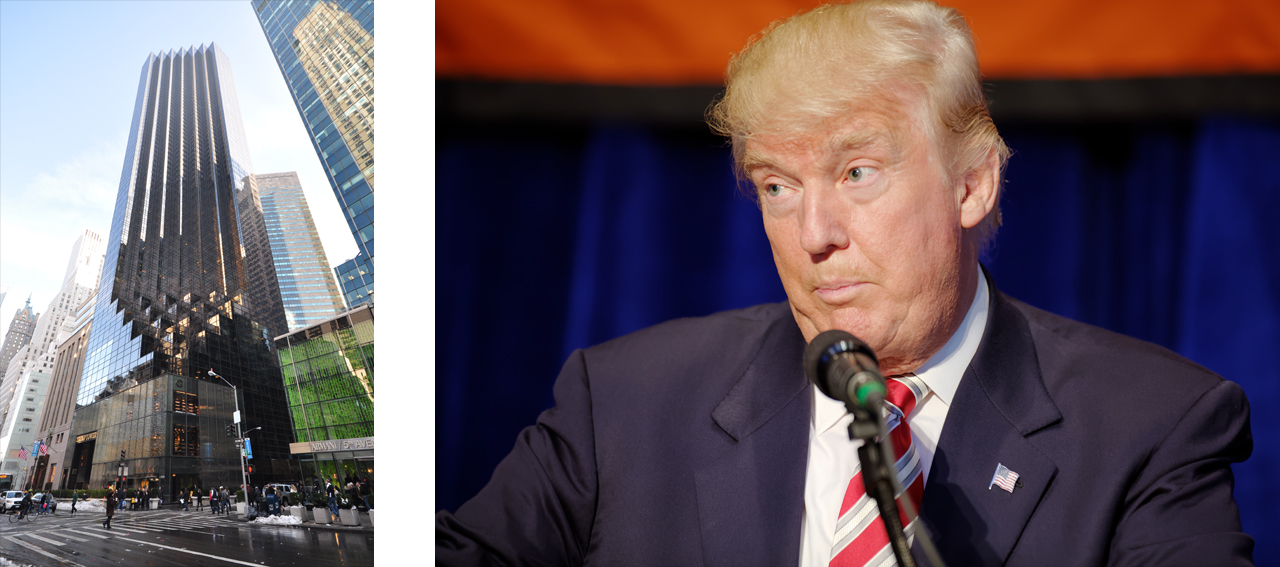 On the left Trump Tower in New York City and on the right Donald Trump at the Mariott Marquis in New York City