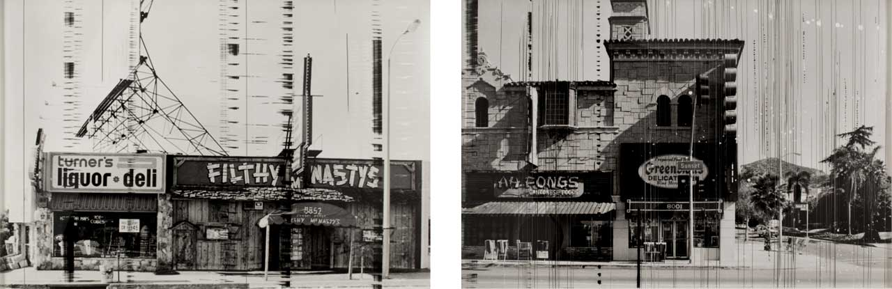 On the left Ed Ruscha, Filthy McNasty's, 1966, 1995 Photograph and on the right Greenblatt's Deli, 1966, 1995 Photograph