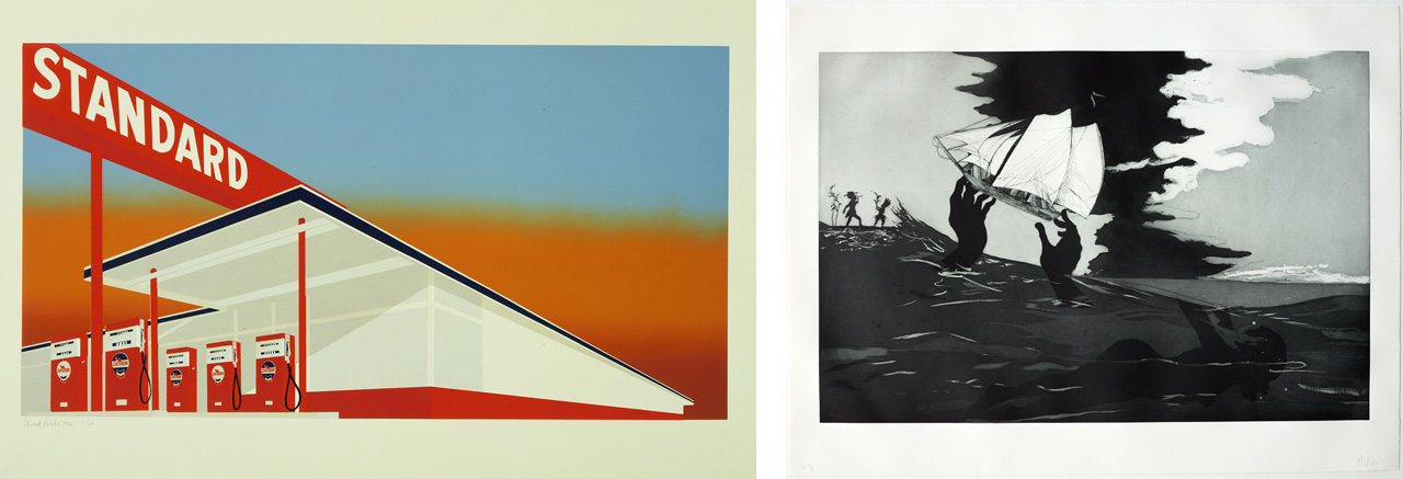 On the left Edward Ruscha, Standard Station, 1966, screenprint and on the right Kara Walker, no world, 2010