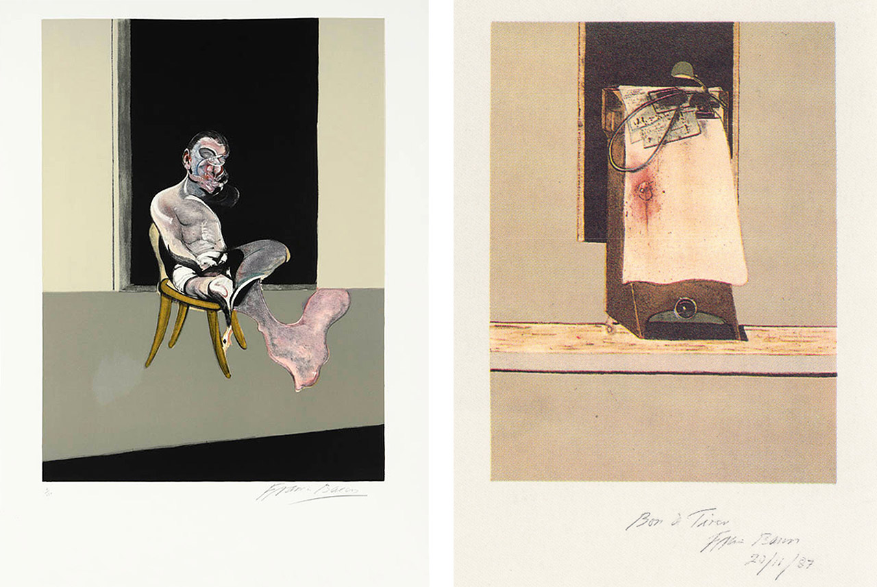 On the left Francis Bacon, Triptych August, 1972 (Right Panel), 1989 and on the right Francis Bacon, Taken from a photograph...