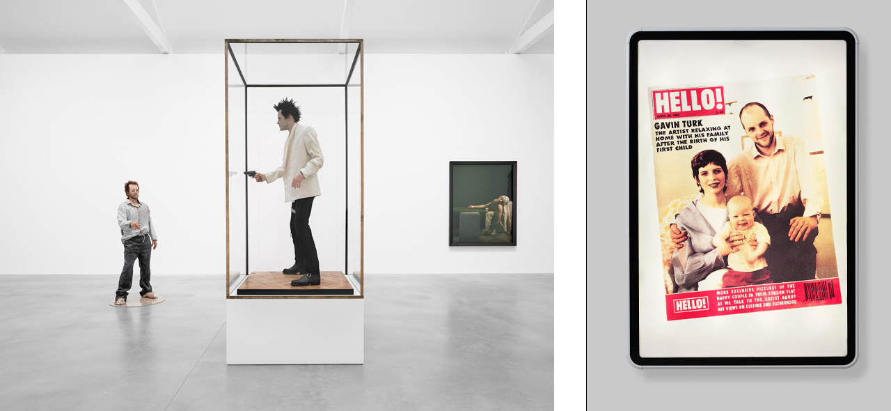 """On the left """"Gavin Turk, Who What When Where How & Why"""" installation view and on the right Gavin Turk, Identity Crisis, 1994"""