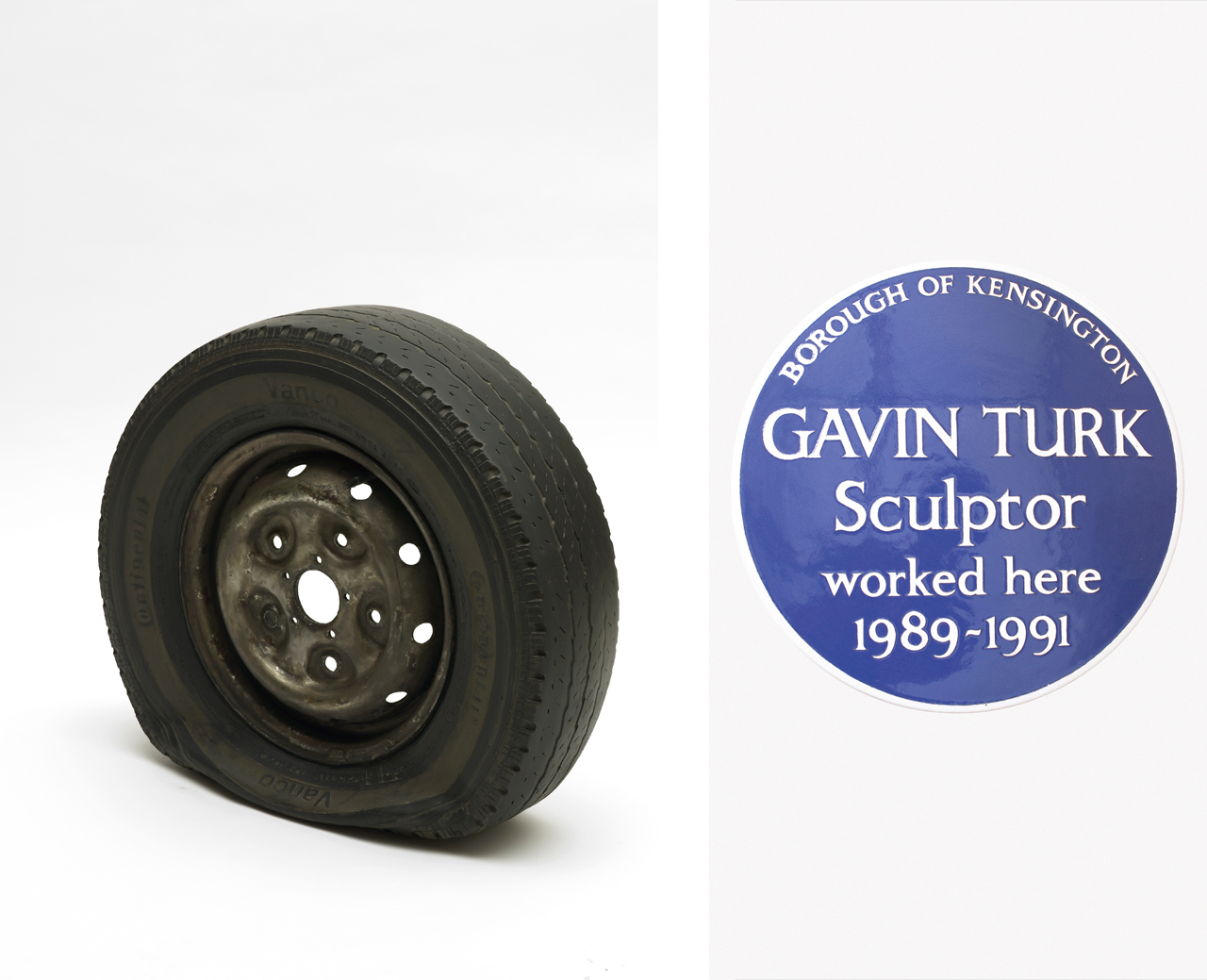 On the left Gavin Turk, Flat Tyre, 2013 and on the right Gavin Turk, Cave, 1991