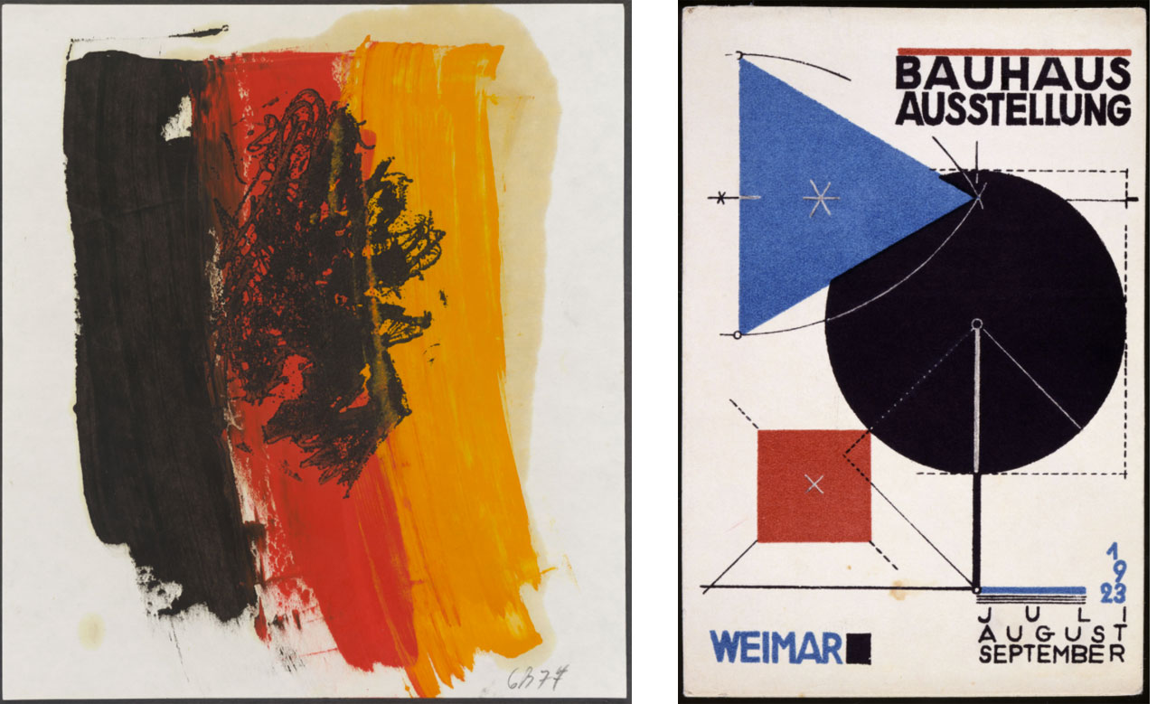On the left Georg Baselitz, Eagle, 1977, Etching and on the right: Herbert Bayer, Reineck & Klein, Weimar (print): Postcard No. 11 for the Bauhaus exhibition in Weimar in summer 1923, Colour lithography on cardboard