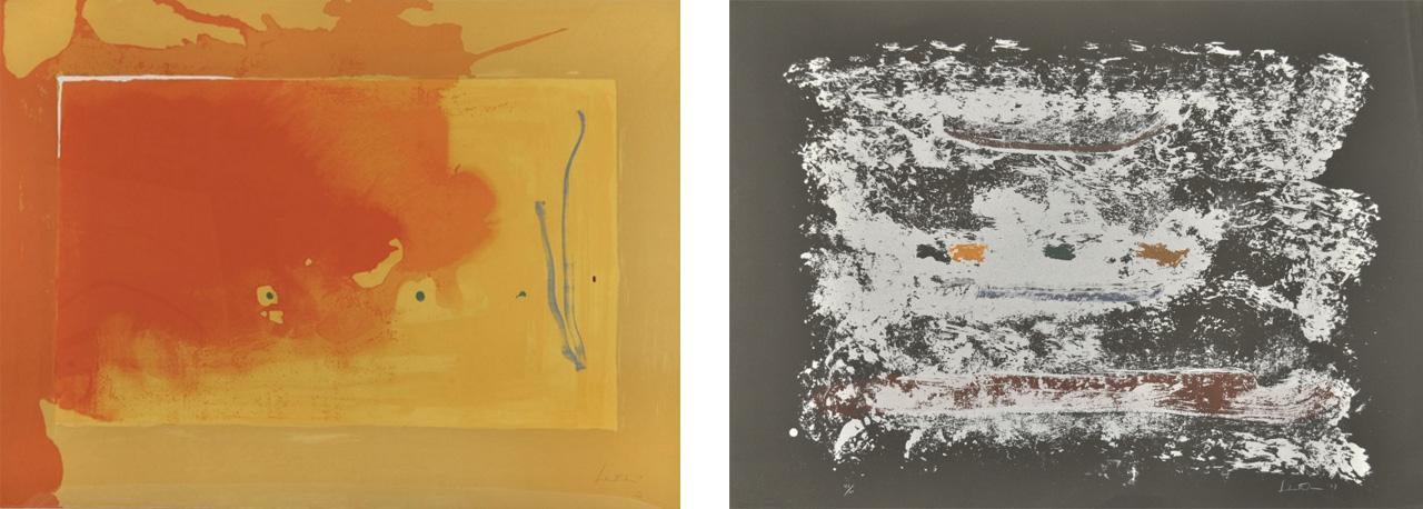 On the left Helen Frankenthaler, Bilbao, 1998, Silkscreen and on the right Helen Frankenthaler, Un poco más, 1987, Lithograph