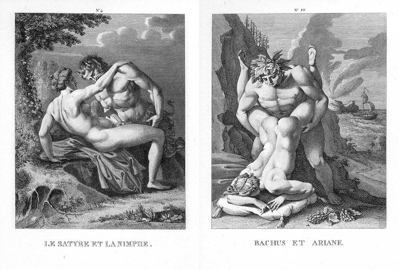On the left Agostino Carracci, Satyr et Nymphe and on the right Agostino Carracci, Bacchus et Ariadne