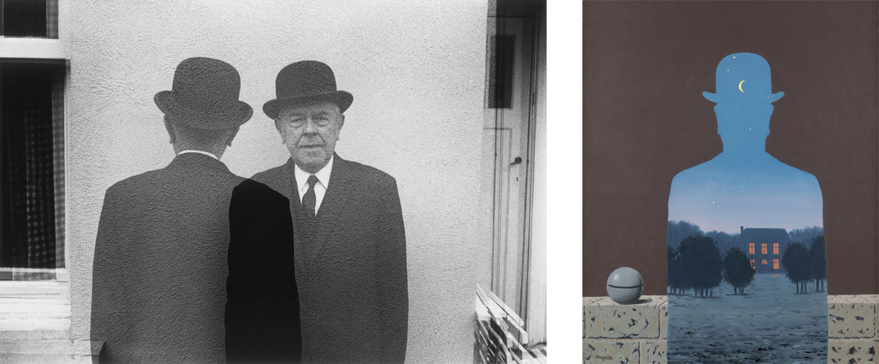 On the left Duane Michals, Magritte (Coming and Going), 1965 and on the right René Magritte, L'Heureux donateur, 1966, oil on canvas