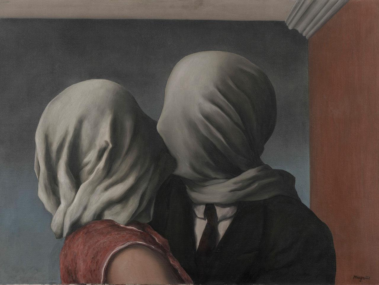 René Magritte, Les Amants, 1928, oil on canvas