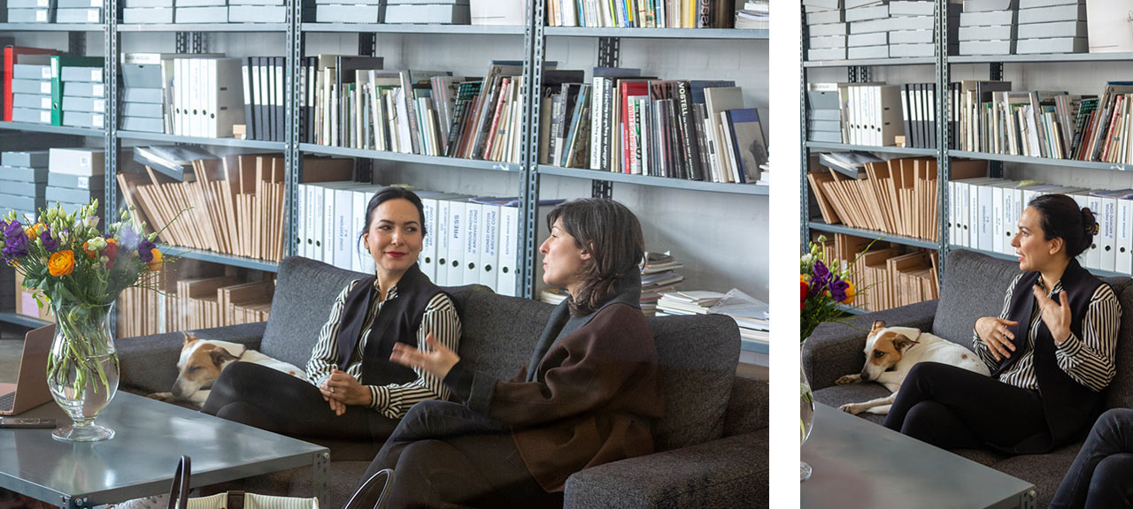 Shirin and Stefania talking in the office. Image: © Petrov Ahner