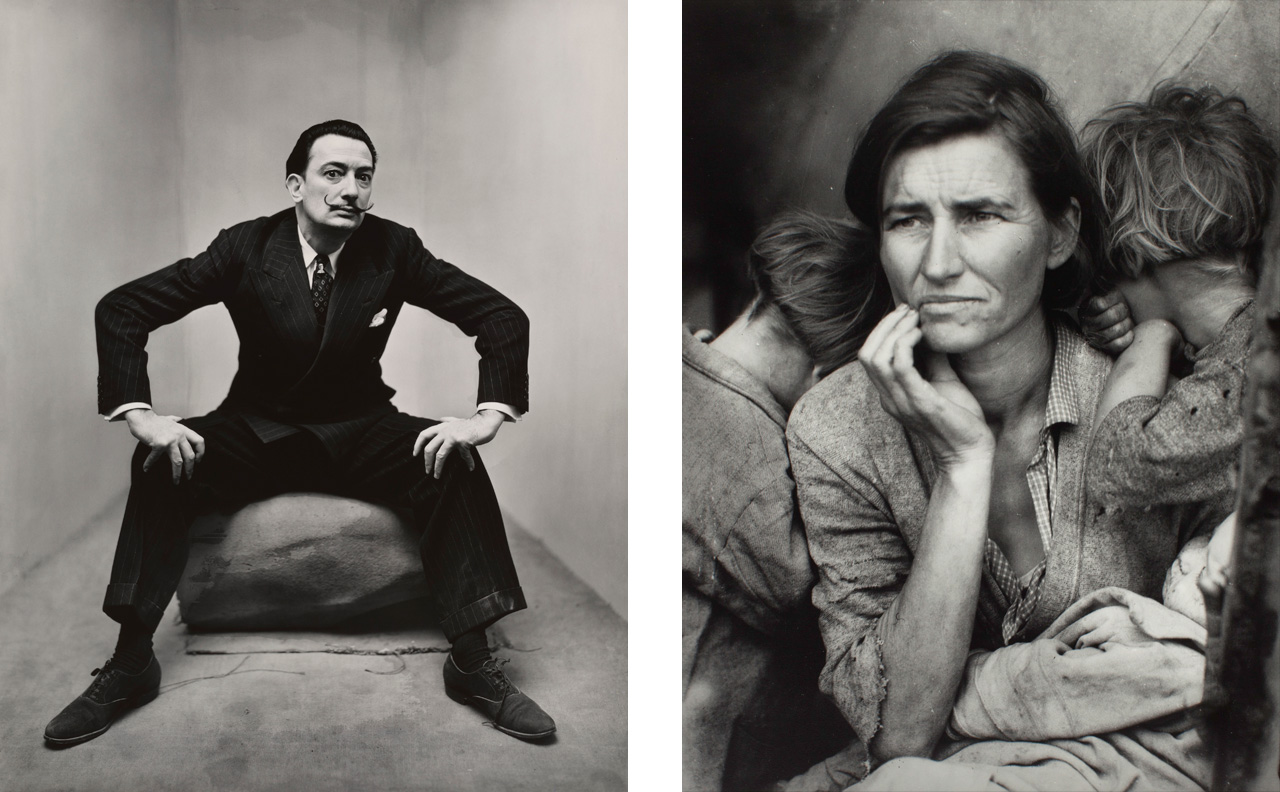 On the left Irving Penn, Salvador Dali and on the right Dorothea Lange, Migrant Mother, 1936
