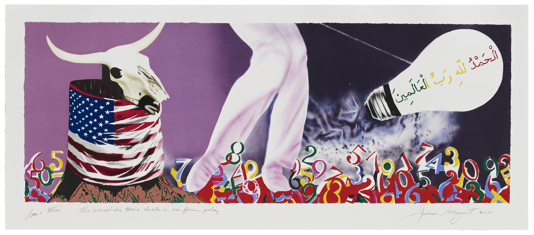 James Rosenquist, The Xenophobic Movie Director or Our Foreign Policy, 2011, 15 colour lithograph