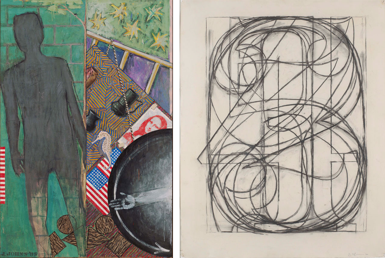On the left Jasper Johns, Summer, 1985 and on the right Jasper Johns, 0 Through 9, 1960