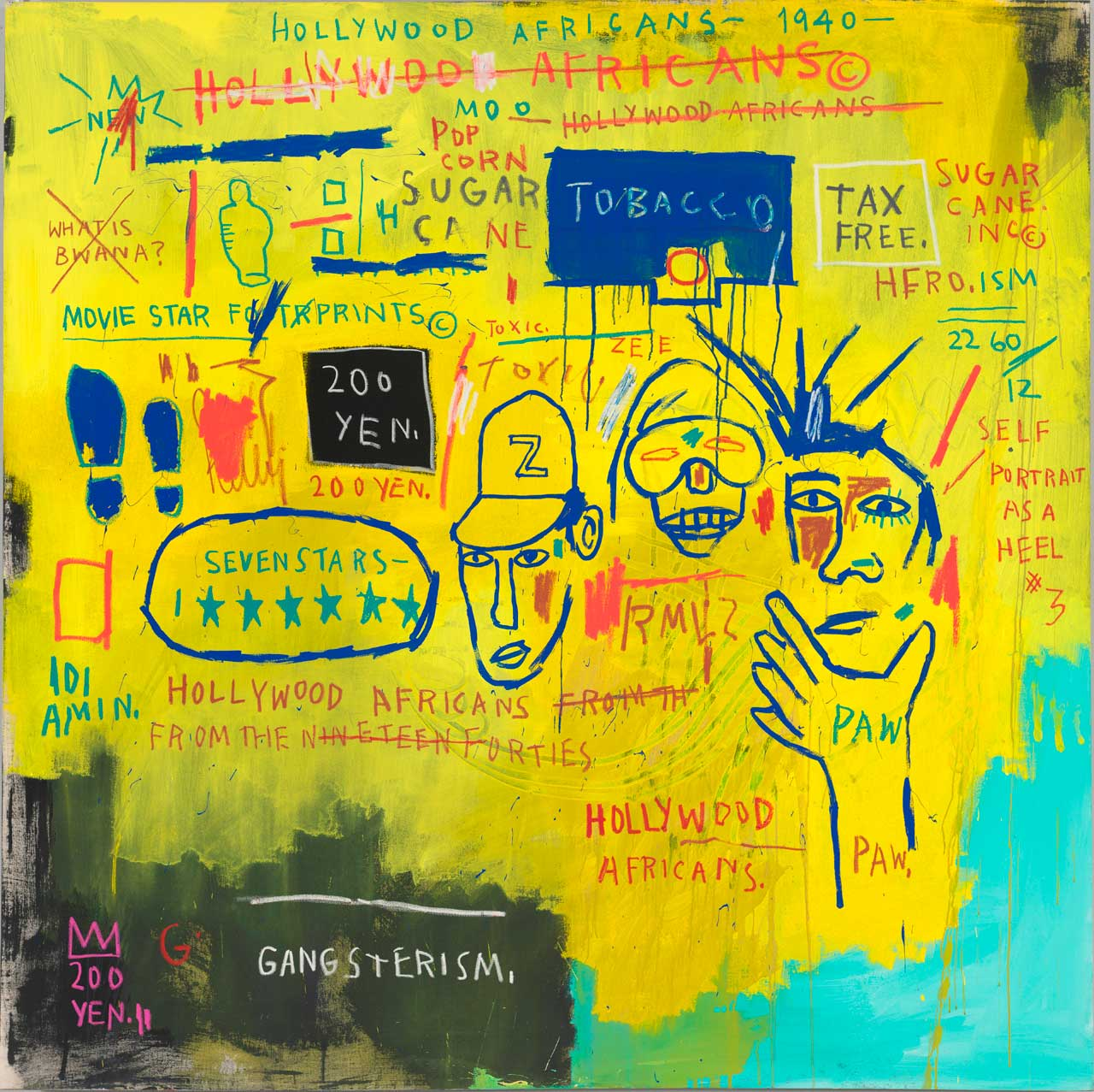 A painting by Jean-Michel Basquiat entitled Hollywood Africans