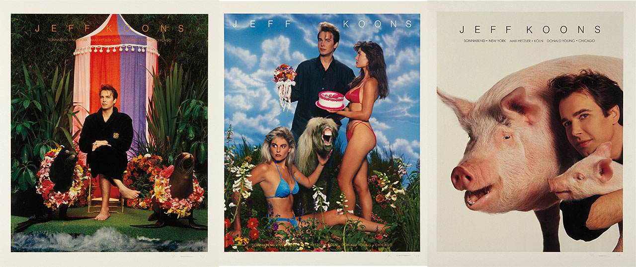 Jeff Koons, Art Magazine Ads (Flashart, Art in America, Artforum, Arts), 1988-89, 3 of 4 color Lithographs