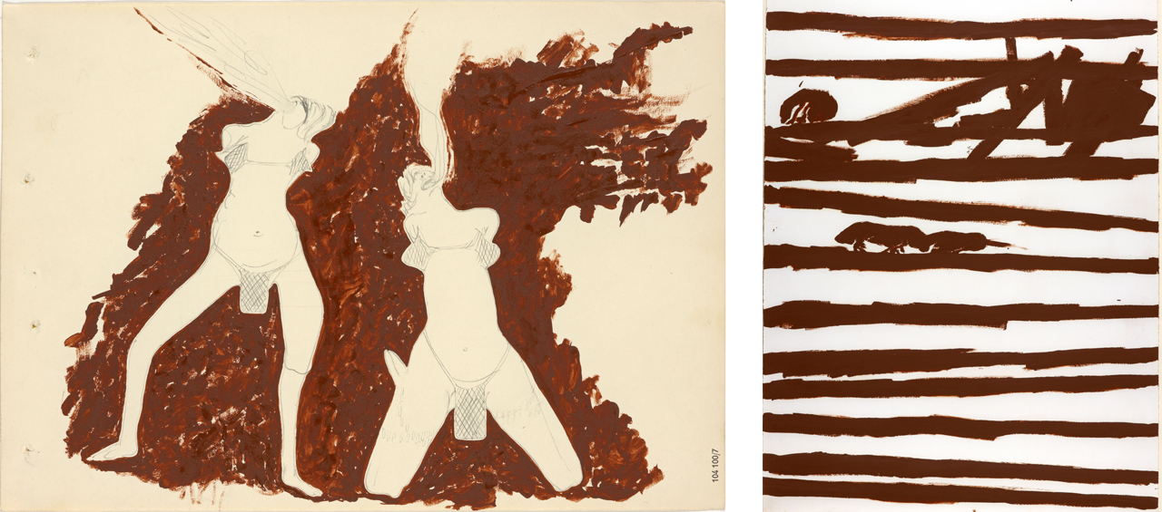 Left: Joseph Beuys, Witches Spitting Fire, 1959, Graphite and oil paint. Right: Joseph Beuys, Night in the Rafters, 1974, Drawing