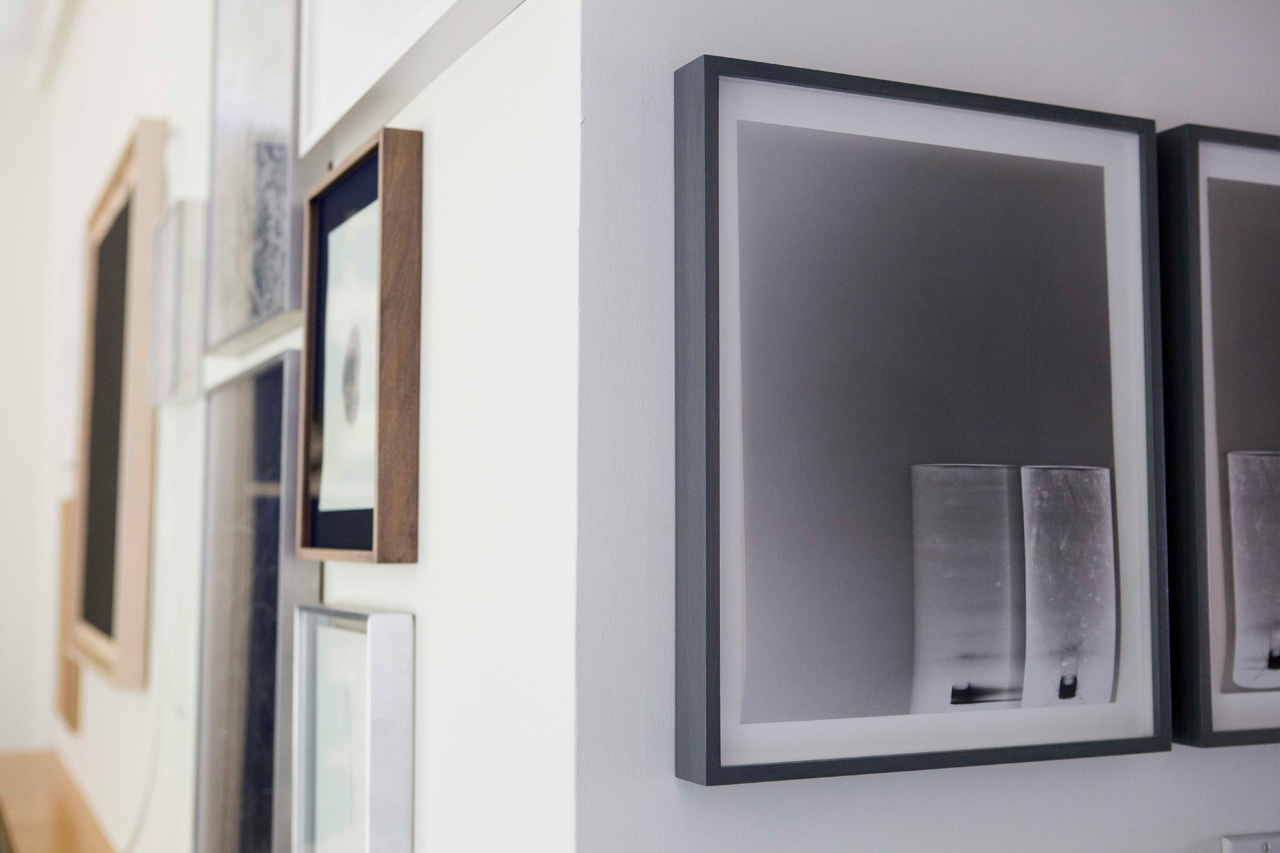 Side image of works by Eduardo Basualdo and photograms by Farrah Karapetian