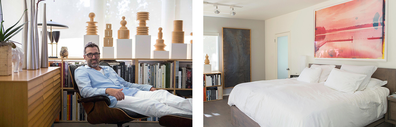 On the left a work by Richard David Sigmund and above the bed a work by Matthew Brandt