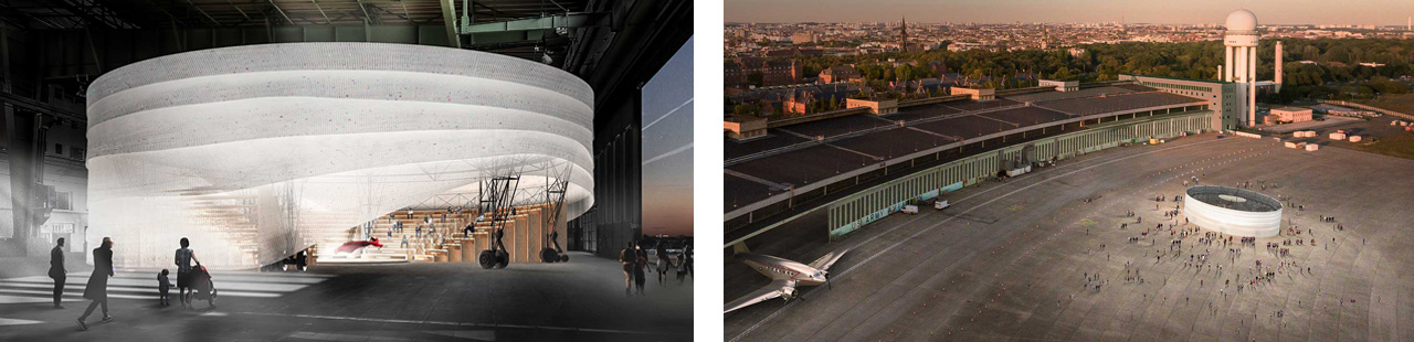 Volksbühne Satellite Theater announced for Tempelhof Airport in Berlin designed by Francis Kéré. © Kéré Architecture.