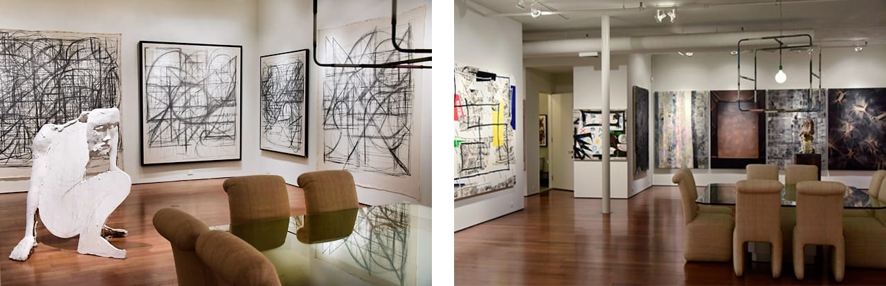 Bottom Left: Sculpture by Thomas Houseago and graphite on canvas drawings by Peppi Bottrop