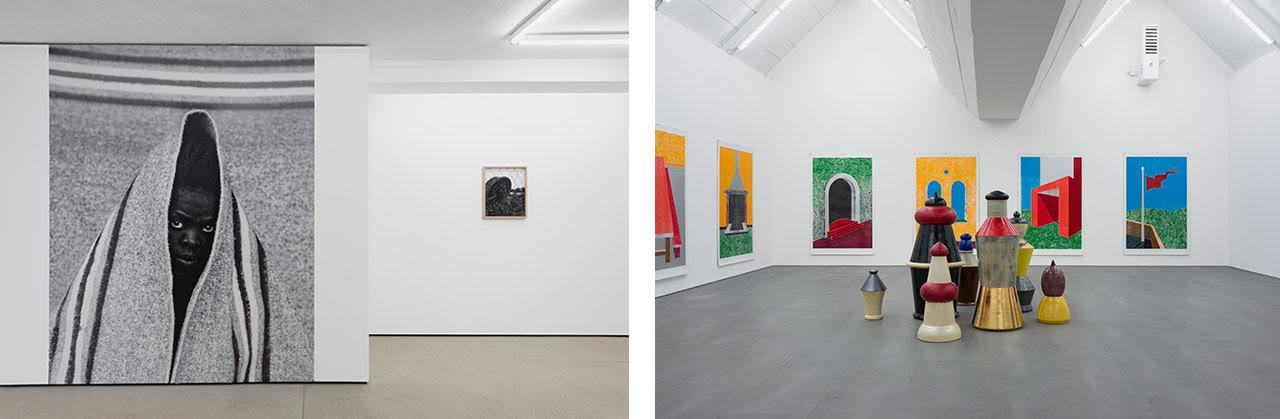 On the left, installation view, Zanele Muholi, Wentrup Gallery, Berlin, on the right, installation view, Thomas Schütte, carlier gebauer, 2017 Courtesy of the artist and carlier gebauer