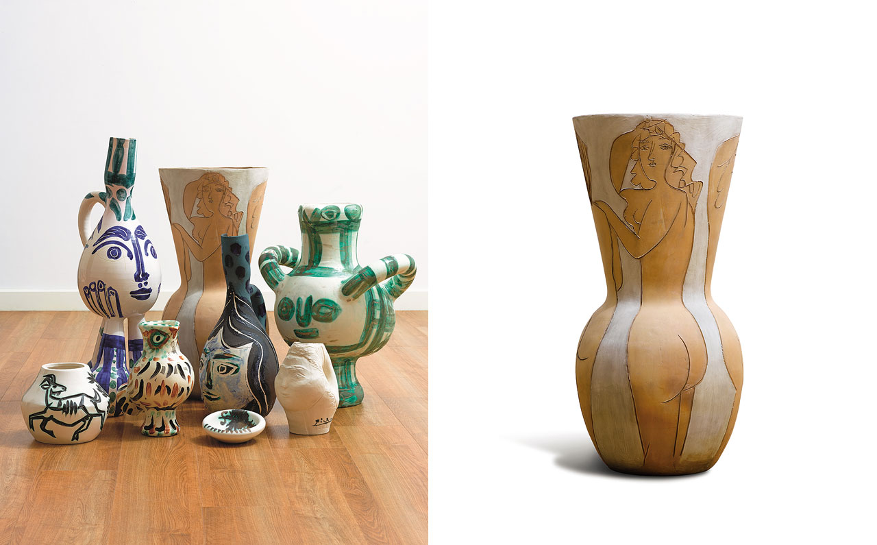 Left: A collection of Picasso's limited edition ceramics. Right: Grand vase aux femme nues, 1950. Coutesy: Sotheby's London